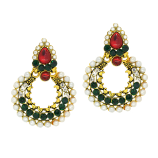 Crave Gold Plated Oxidised American Diamond and Pearl Studded ChandBali Earring -19C0237-1